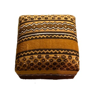 "African Custom Made Malian Mud Cloth Square Ottoman 14"" H Preview"