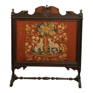 Jacobean Revival Style Vintage 1930s Walnut Needlepoint Fire Screen For Sale