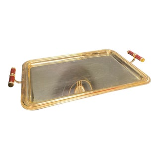 1970s Large Italian Rectangular Gold Plated 24k Tray For Sale
