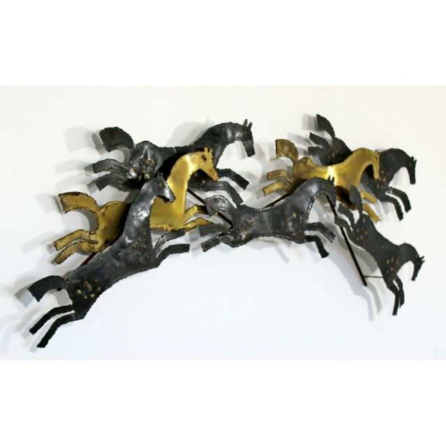 1960s Mid Century Modern Brutalist Hammered Metal Horse Wall Art Sculpture For Sale - Image 4 of 8