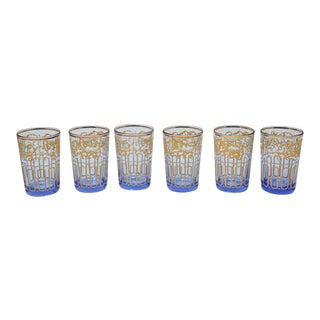 Blue Glasses with Gold Moorish Design - Set of 6 For Sale