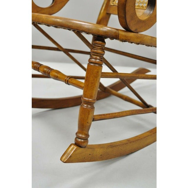 19th Century Antique Eastlake Victorian Cane & Maple Wood Primitive Rocker Rocking Chair For Sale - Image 10 of 12
