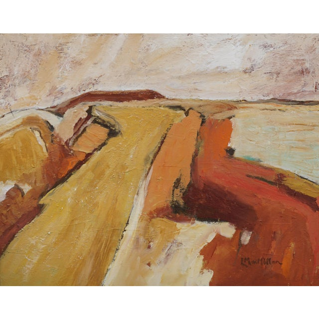 This abstract desertscape reflects the artist's fascination with the wide open spaces of the West. It is very textural to...