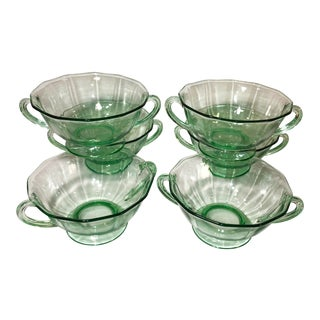 1920s Antique Green Vaseline Glass Bowls- Set of 6 For Sale