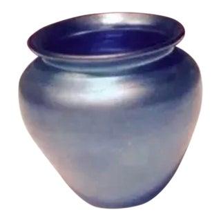 Antique Steuben Blue Aurene Vase Signed For Sale