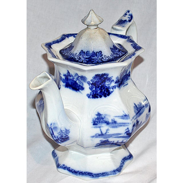 Country English Staffordshire Flow-Blue Teapot For Sale - Image 3 of 7