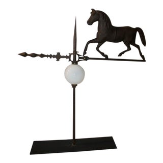 19th Century Original Painted Horse Weather Vane and Lighting Rod on Stand