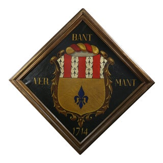 European Crest or Coat of Arms Oil Painting on Canvas For Sale