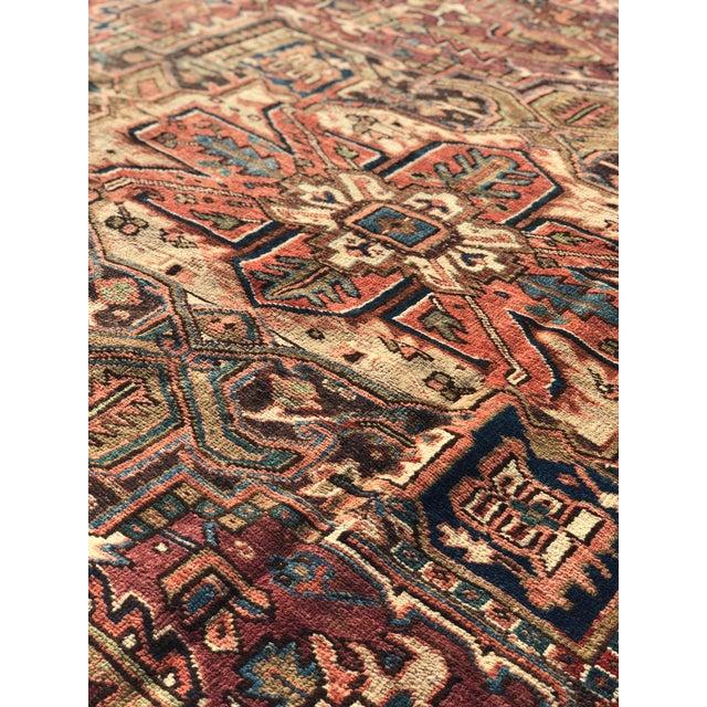 1940s Vintage Persian Heriz Large Area Rug - 9′5″ × 11′10″ For Sale - Image 12 of 13