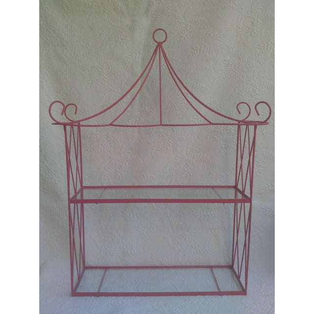 Vintage Pink Tole Pagoda Wall Shelf For Sale In Charleston - Image 6 of 7
