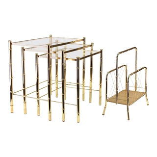Nesting Tables and Magazine Stand Set with Faux Bamboo Design in Gilt Metal - Set of Four For Sale