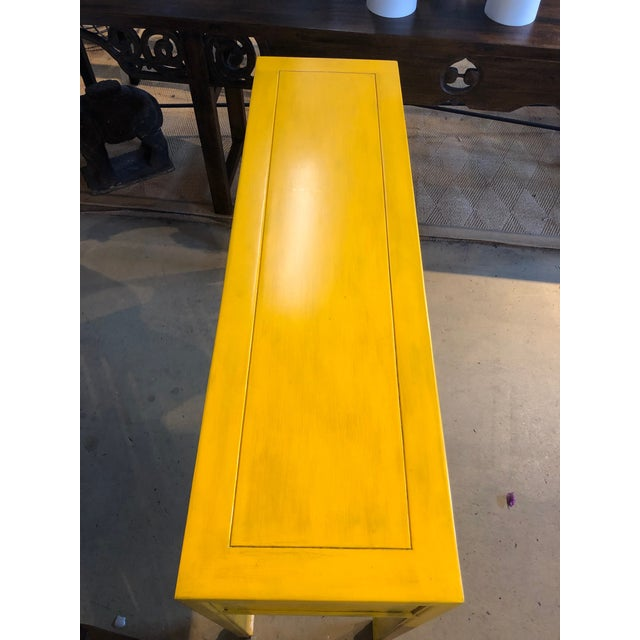 2010s Asian Style Yellow 3-Drawer Console Table For Sale - Image 5 of 7