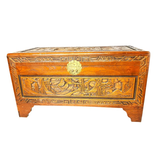 Late 19th Century Antique Chinese Hand Carved Camphor Chest / Trunk For Sale