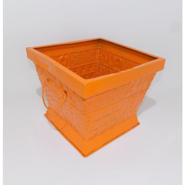 Mid 20th Century Contemporary Orange Square Metal Catchall Bin Organizer For Sale - Image 5 of 8