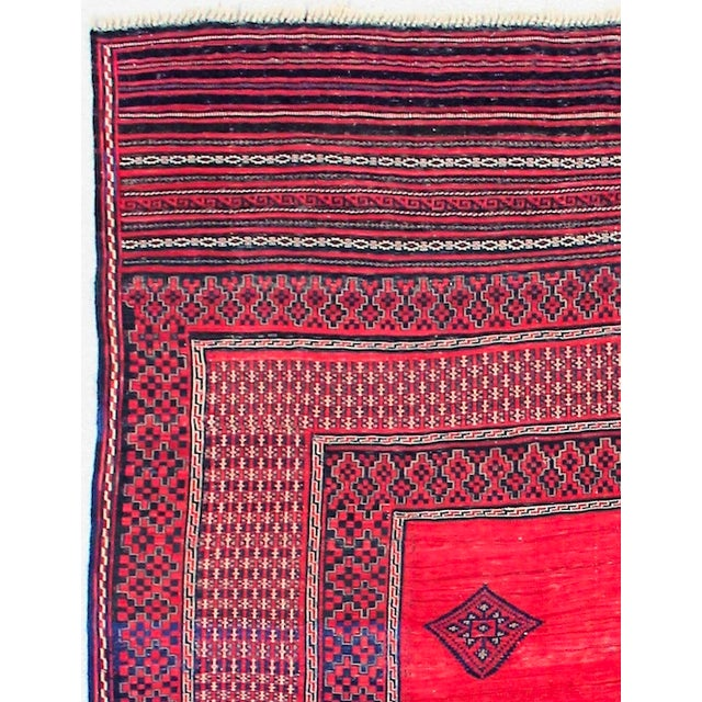 Red & Blue Vintage Turkish Kilim Rug - 6′ × 7′ For Sale - Image 4 of 8