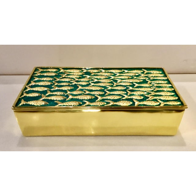 2010s Modern Gold Fish on Turquoise Metal Sea Box For Sale - Image 5 of 5