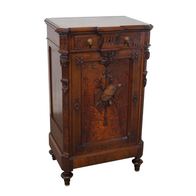 American Carved Walnut Cabinet For Sale