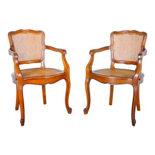 Vintage French Louis XV Style Maple Armchairs W/ Cane Seats - a Pair For Sale