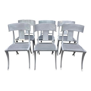 Klismos Patio Dining Chairs in Cast Aluminum a - Set of 6 For Sale