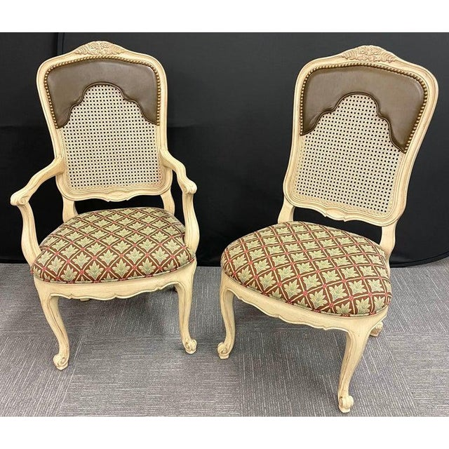 Set of 14 Louis XV Style Pickled Distress Dining Chairs For Sale In New York - Image 6 of 13