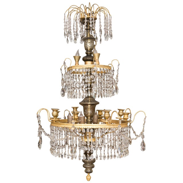 19th Century Gilt Metal and Crystal Baltic Chandelier For Sale