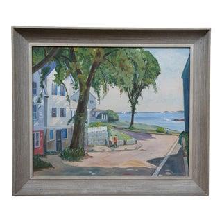 1956 Ocean Landscape Oil Painting, Framed For Sale