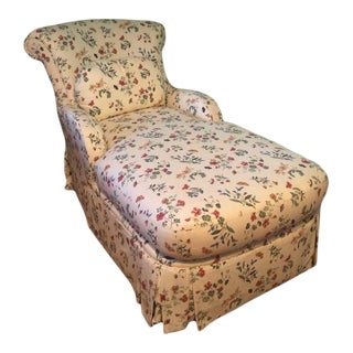 Early 21st Century Fine Designer Floral Upholstered Chaise Lounge For Sale