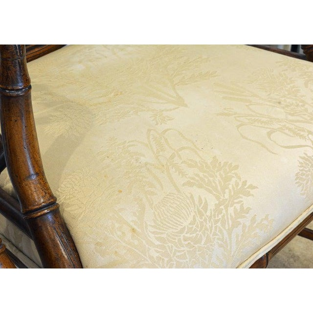 Pair of Chinoiserie Chippendale Style Upholstered Faux Bamboo Wooden Armchairs For Sale - Image 9 of 13