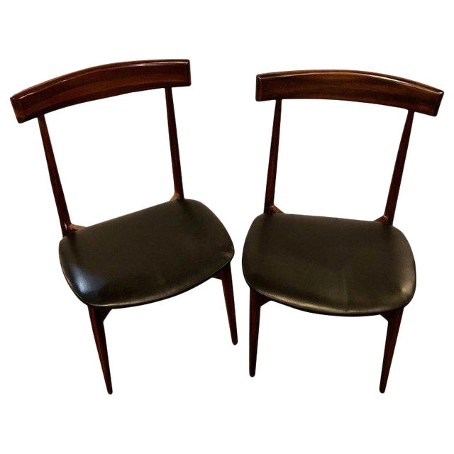 Set of Four Mid-Century Modern Slat Back Black Leather Side Chairs For Sale