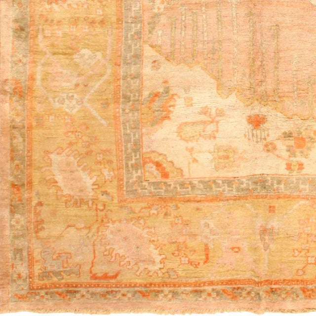 Decorative Antique Turkish Oushak Rug 49165, Country of Origin / Rug Type: Turkish Rugs, Circa Date: 1900 – Soft apricot...