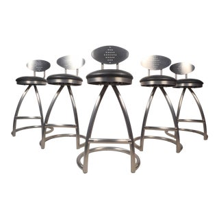Contemporary Modern Industrial Style Bar Stools - Set of 5 For Sale