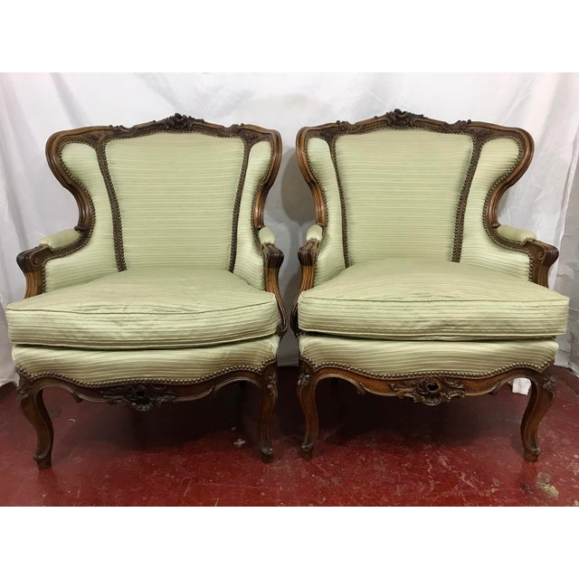 Classic, timeless, this pair of beautifully sculpted bergeres from the Gilded Age are in wonderful condition and recently...