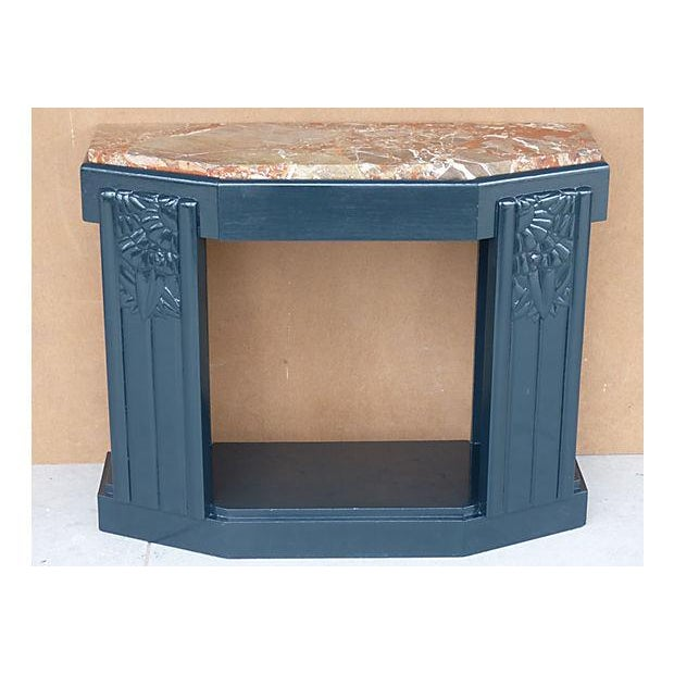 Art Deco Painted Wood Console with Marble Top - Image 2 of 8