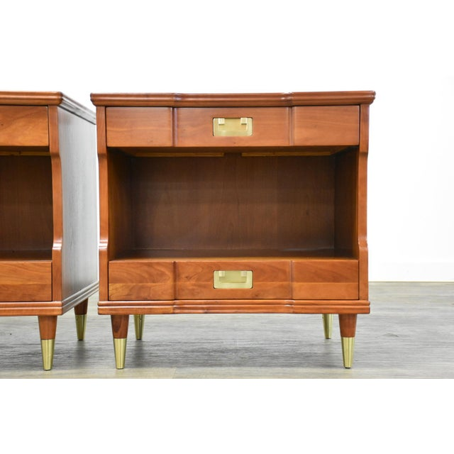 Metal Cherry Nightstands by John Widdicomb - a Pair For Sale - Image 7 of 12
