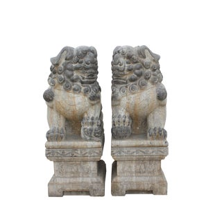 Chinese Large Pair Distressed Black Gray Stone Fengshui Foo Dogs Statues For Sale