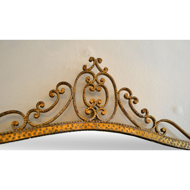 1950s Art Deco Style Italian Gilt Wrought Iron Wall Mirror by Pier Luigi Colli For Sale - Image 5 of 12