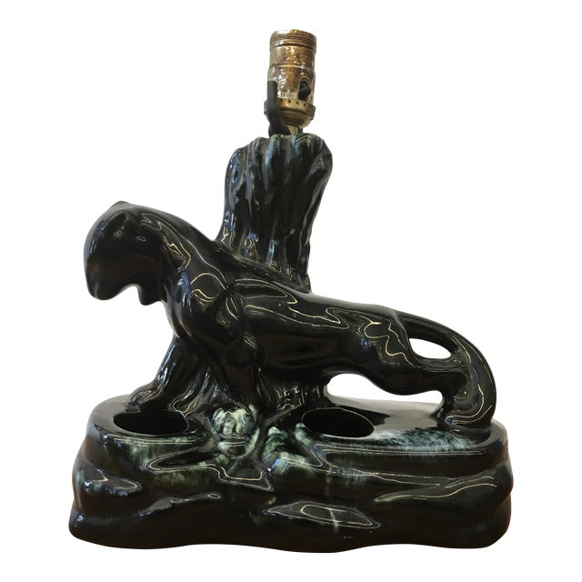 Mid-Century Modern Ceramic Panther Lamp - Image 1 of 5
