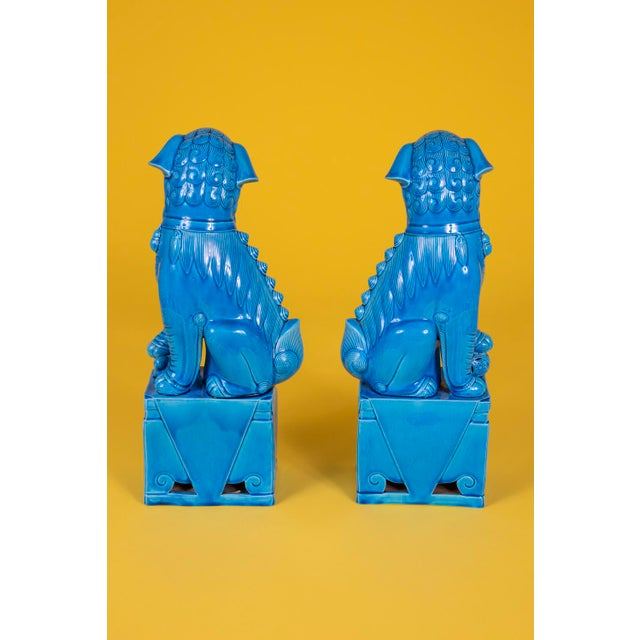 1960s Oversize Pair of Vintage Turquoise Foo Dogs For Sale - Image 5 of 10