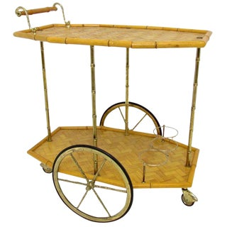1950s Italian Bamboo and Brass Bar Cart For Sale