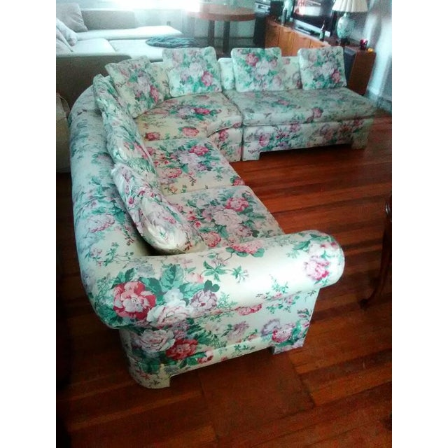 Vintage Ethan Allen Curved Sectional Sofa - Image 2 of 8