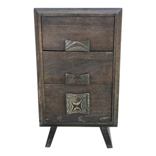 Paul Frankl Style Cerused Brown 3 Drawer Nightstand For Sale