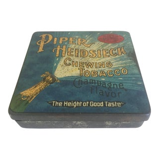 "Early 1900s Vintage ""Piper Heidsieck Champagne Flavor Chewing Tobacco"" Tin Box For Sale"