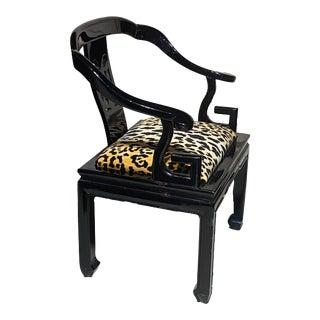 1970's James Mont Style Chinese Black Lacquer Horseshoe Back Club Chair For Sale