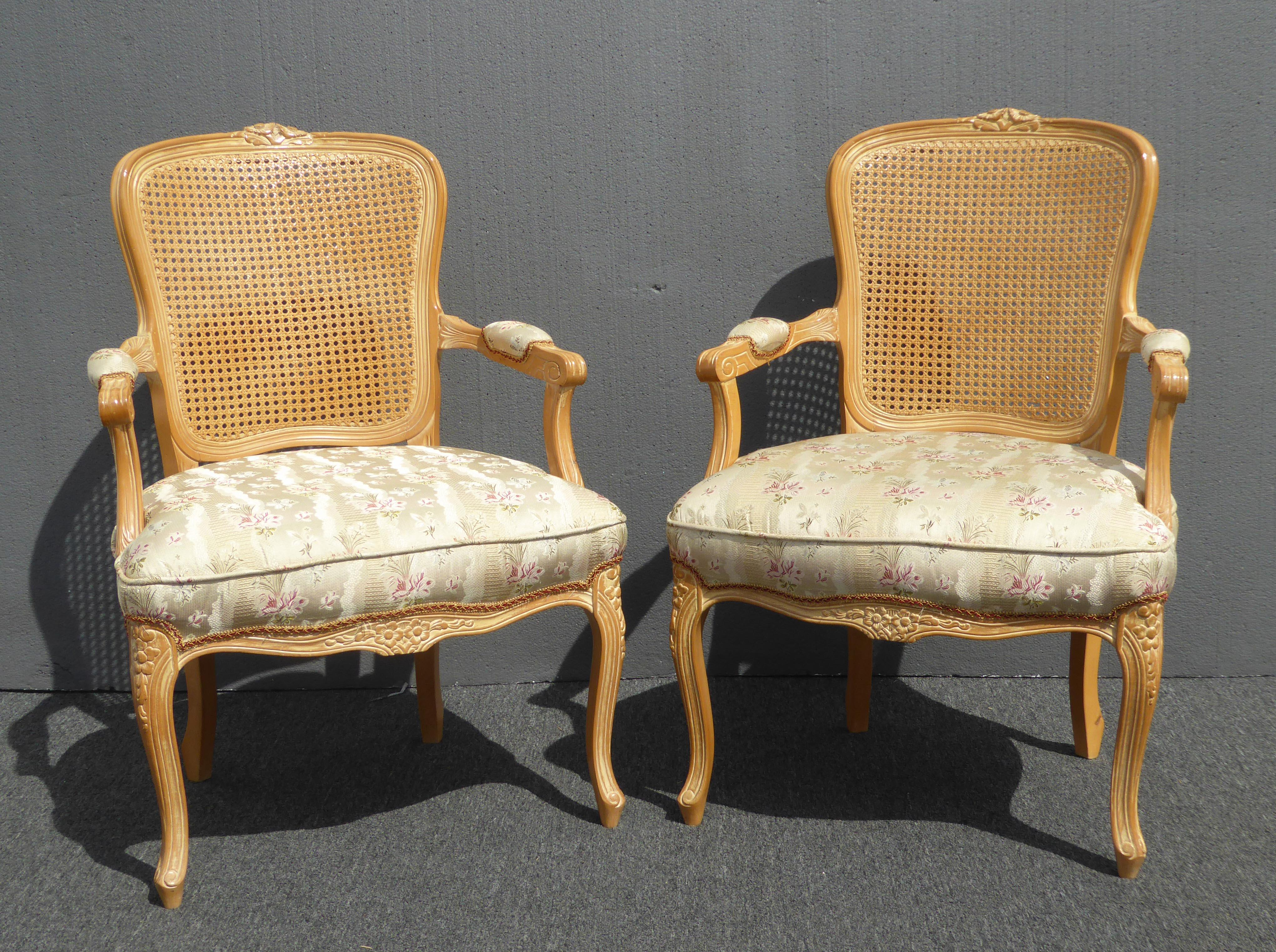 Vintage French Provincial Cane Off White Accent Chairs W Floral Print   A  Pair   Image