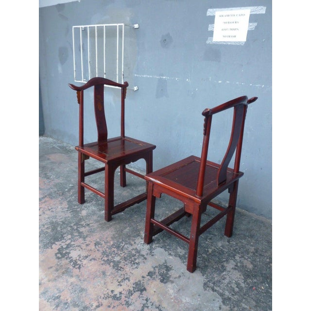 Chinoiserie Pair of 19th Century Red Lacquer Ming Chairs For Sale - Image 3 of 13