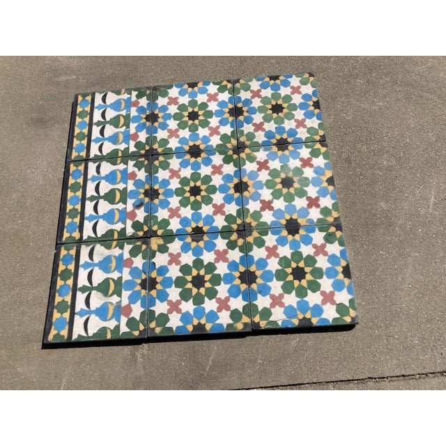 Moroccan handcrafted and hand-painted cement tile with traditional Fez Moorish design. Moroccan hand-painted cement tile...