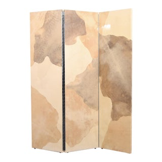 Vintage Large Parchment Screen Attributed to Karl Springer For Sale