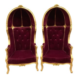 French Burgundy Velvet Throne Balloon Chairs - a Pair For Sale