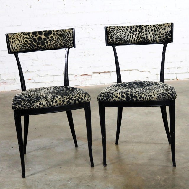 Pair Black Art Deco and Animal Print Side Chairs Cast Aluminum by Crucible Products For Sale - Image 6 of 13