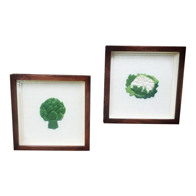 Framed Boho Chic Crewel Embroidered Artwork of Veggies - A Pair For Sale